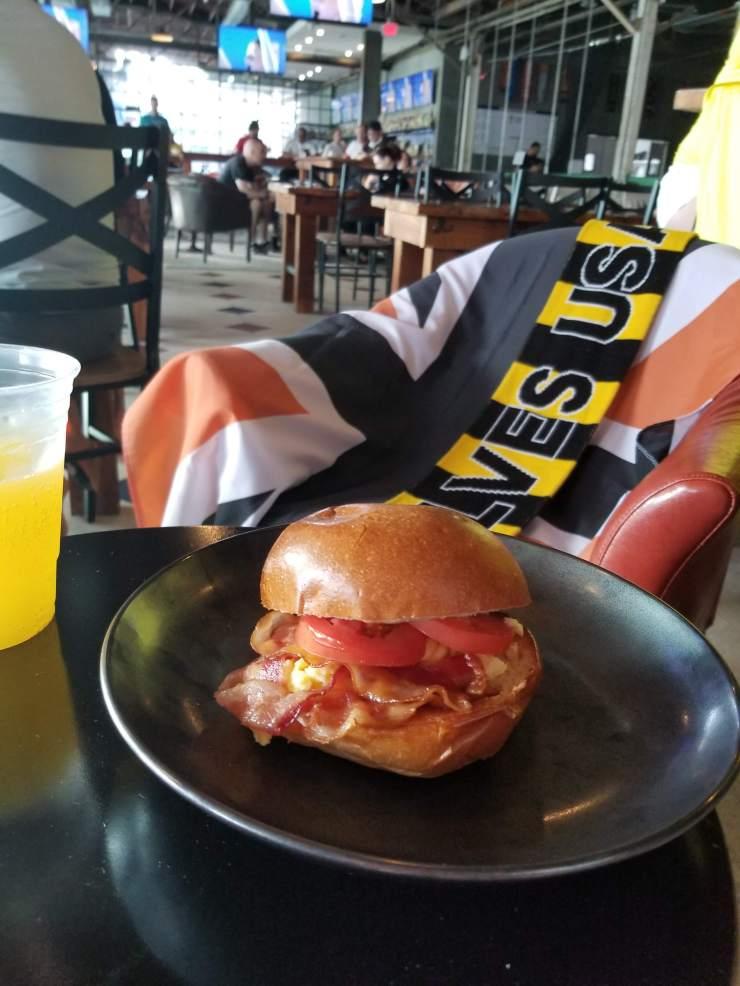 Breakfast menu at Pitch 25 Beer Park in Houston